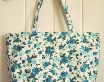 vintage waverly aqua floral tote bag