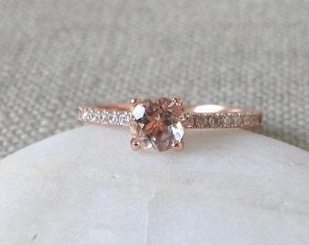 Morganite Engagement Ring- Classic Morganite Promise Ring- Rose Gold Promise Ring- Rose Gold Morganite Ring- Round 4 Prong Ring