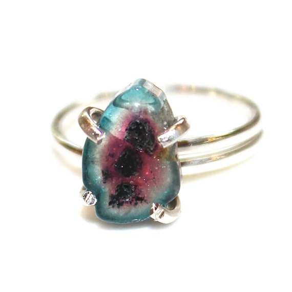 Blue Watermelon Tourmaline Slice Ring Tourmaline Ring By