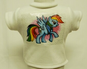 My Little Pony Rainbow Dash Theme Silver Glitter Transfer T-Shirt For 16 or 18 Inch Dolls Like The American Girl Or Bitty Baby