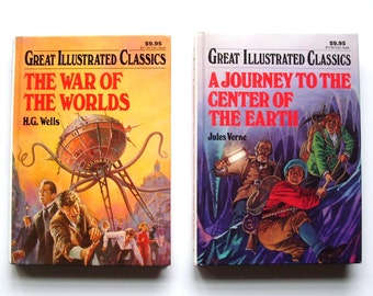 set of 2 classic books-The war of the worlds and A journey to the center of the earth