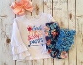 Little Miss Sassy Pants- embroidered ruffle shirt-M2M Sew Sassy Blooming Days- m2m Sew Sassy Peach