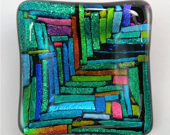 striped dichroic  glass dish