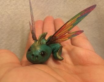 ooak rainbow Fairy friend newborn baby dragon tadpole art doll sculpture critter fae pixie dragonfly wings  silly little thing