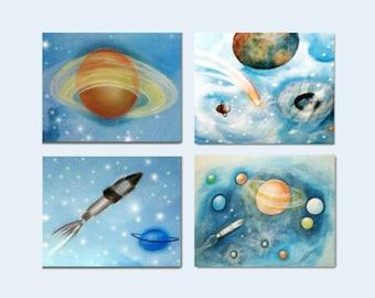Outer Space Wall Art, Kids Decor, Kids Wall Art, Nursery Decor, Nursery Wall Art, Space Nursery, SET OF 4 Prints, Children Art ,Space Decor