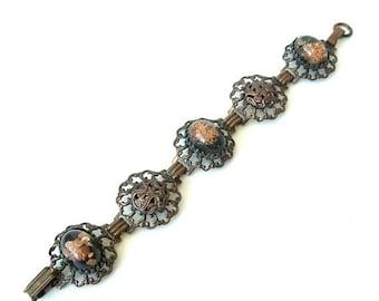 Vintage Bracelet  Antiqued Copper with Resin Cabochons confetti flakes prong set