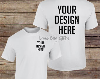 TShirt Mock Up White - Adult Unisex Short Sleeve Shirt - Add your design - INSTANT Download