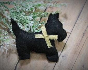 Felt Scottie dog ornaments-Black scotties-Handmade Christmas ornaments-unbreakable ornaments-Holiday gifts-Handmade Scottish terrier