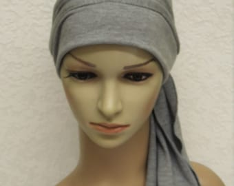 Chemo head wear, bad hair day scarf, turban with ties, chemo turban, chemo hat, full head covering, chemo cap, made from viscose jersey