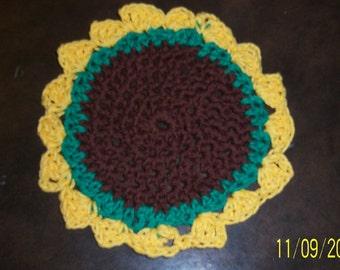 Crochet Sunflower Washcloth