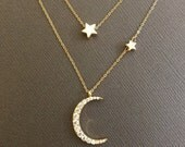 18K Vermeil Crescent Moon and star necklace, Moon Necklace, Double Layer Necklace, I love you to the moon and back, Layering necklace, star