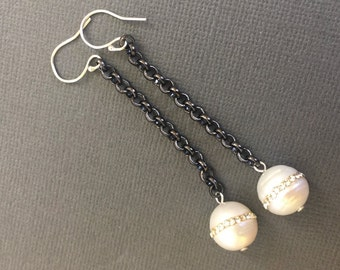 SALE - Dangling Pearl earrings, CZ embedded Pearl on a Oxidized chain, Two tone jewelry, Tow tone earrings
