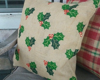 Natural, Green & Red Holly Berries Leaf Print Burlap Pillow Cover- Various sizes available!