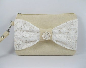 SUPER SALE - Cream with White Lace Bow Clutch - Bridal Clutches, Bridesmaid Wristlet, Wedding Gift - Made To Order