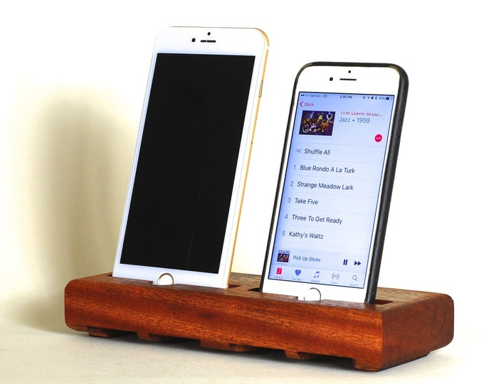The EICHLER Dual Dock in MAHOGANY – Fits all iPhone models - Leave your Case on - Boosts the Sound