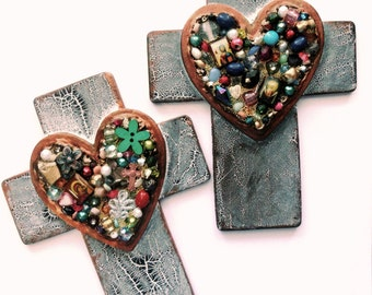 CROSS crosses gifts choose left or right found object one of a kind beaded handpainted religious art wall decor crosses