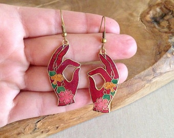 Vintage Cloisonne Classical Indian Dancing Hands Henna Mehndi Earrings Jewelry