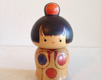Fat Kokeshi Geisha Girl Wooden Japanese Doll