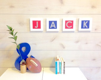 Custom Nursery Wooden Letters, Sports Themed Nursery Decor, NY New York Giants Nursery Decor, Custom Baby Boy Nursery Decor, Nursery Art