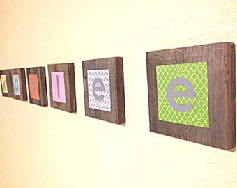 Nursery Wall Letters Custom Baby Girl Nursery Decor Baby Nursery Letters Made From Rustic Repurposed Wood With Modern Prints in Custom Color