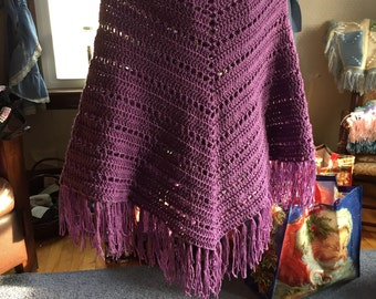 Hand crocheted purple poncho