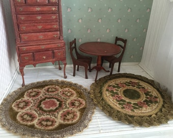 Vintage Victorian style dollhouse 2 piece rug set - Free Shipping to the US
