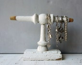 SALE Small Chippy White Bracelet Holder - Made from Architectural Salvage - Recycled Wood - Quantities Available
