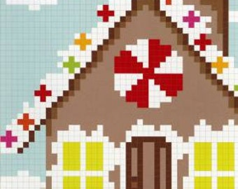 The Gingerbread House quilt pattern by Emily Cier of Carolina Patchworks - pixel quilt
