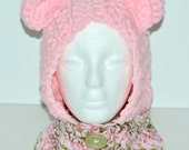 Girl's bear hooded cowl in petal pink - Toddlers 2T- 5T  winter hat - Gifts under 25 - Ready to ship - Gifts for toddlers - Crochet scoodie