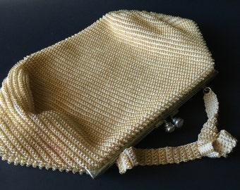 Vintage Crochet Beaded Handbag Purse
