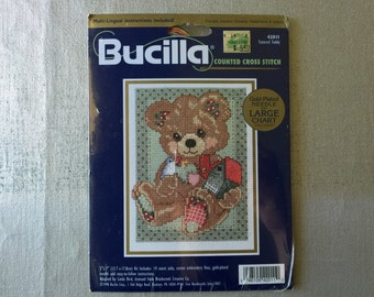 Bucilla Counted Cross Stitch Kit Tattered Teddy