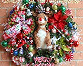 Rudolph Wreath, Rudolph the Red-Nosed Reindeer Wreath, Christmas Wreath, -MADE To ORDER- Pre-lit, Island of Misfit Toys, LAST 1