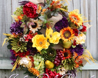 Deluxe Tuscan Wreath,  Poppy and Sunflower French Country Wreath,  Everyday Wreath, large Rustic Thanksgiving, Autumn Tuscan Floral