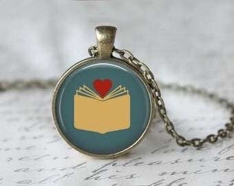 Book Necklace - Book Jewelry - Book Lover - Literary Jewelry - I Love Books - Readers Pendant - Reading - Librarian (38BLUE)