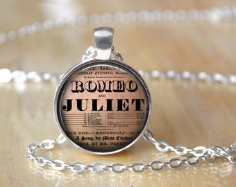Romeo and Juliet Necklace - Shakespeare Necklace - Quote Necklace - Love Necklace - I Love You - Theater Necklace - Gift for Actress T621