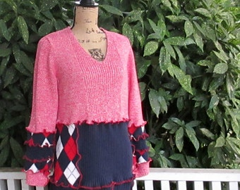 Cotton Sweater - Upcycled Recycled - Red White & Blue - Americana -  Gypsy Style - Argyle Print - Repurposed - Patriotic - USA - America
