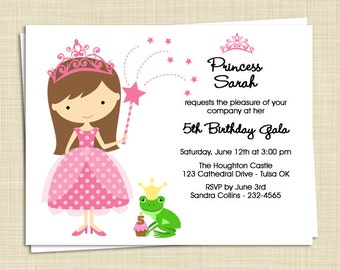 10 Birthday Party Invitations - Little Princess - PRINTED