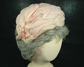 Pink Fitted Hat Chiffon with Pink Straw Braid, 1940s Pink Turban, Asymetrical Hat, Wedding Wear, USA Union Made Hat
