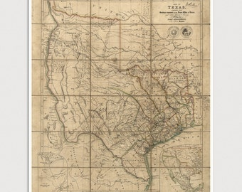 Old Texas Map Art Print 1841 Antique Map Archival Reproduction