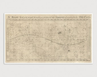 Old Constellation Map Art Print 1810 Antique Map Archival Reproduction - Star Map - Star Chart