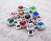 Add on - Crystal Glass Birthstone Charm Drop in Antique Silver Bezel Setting
