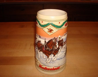 Large 1996 American Homestead Holiday Budweiser Beer Stein