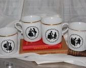 Set of Four Dresden Mugs, Beautiful porcelain, Czechoslovakia. vintage,