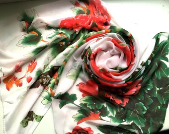 Silk Scarf, Multicolor Silk Scarf, Chiffon Neck Scarf, Flower Scarf, Womens Scarf, Gift for her, Womens Gift, Handmade Scarf