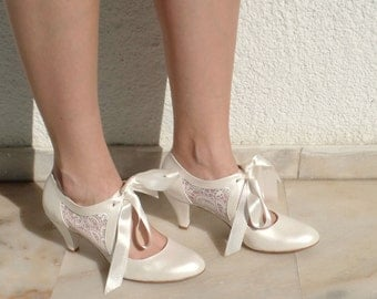 "Wedding Shoes - Bridal Shoes with Ivory Lace and Satin Ribbons, 3""Heels"