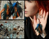 Aquamarine Bohemian Dream Catcher Earrings in Silver with Hand Arranged Feathers by The Emerald Lotus