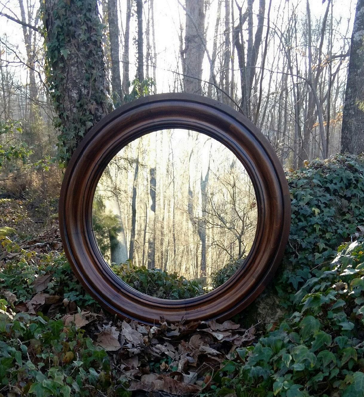 30 Round Mirror Solid Wood Dark Finish Large Round by ...