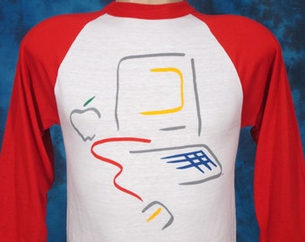 XS*** Vintage 80s Deadstock APPLE COMPUTER Lisa Picasso Paper Thin Raglan Jersey T-Shirt macintosh 128k 512k mac art floppy disk 1980s nos