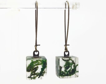 Terrarium earrings, Moss terrarium, cool earrings, nature earrings, nature jewelry, moss earrings, green earrings, eco chic moss jewelry