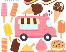 SALE! Ice Cream Truck, Sweets, Summer, Cute Clipart, Personal & Small Commercial Use, Vector Clip Art, Instant Download, png, jpeg, eps